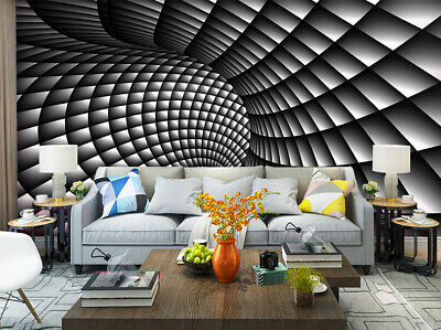 3D Self-adhesive Wallpaper Painting  Abstract Black and White Swirl Wall Mural