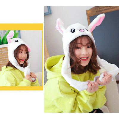Cute Plush Rabbit Pinching Bunny Ear Hat Can Move with Airbag Cap Gift