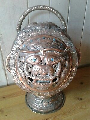 Rare antique Tibetan copper repousse Buddhist temple lion head lidded vessel