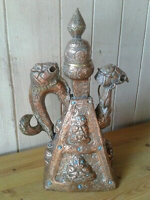 Large antique Tibetan copper repousse Buddhist water ewer