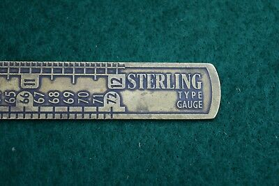 Antique Brass Sterling Printers Setting Ruler Old Tool