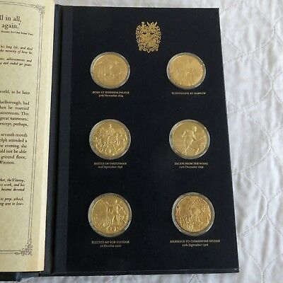 WINSTON CHURCHILL 1974 CENTENARY 24 X GOLD PLATED SILVER PROOF MEDAL - complete