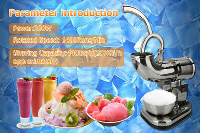 Stainless Steel Electric Ice Crusher Maker Shaver Snow Cone Grinder 200KG/h
