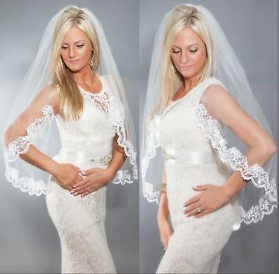 1T Ivory Short Elbow Bridal Wedding Veil With Comb Lace Edge Accessories New