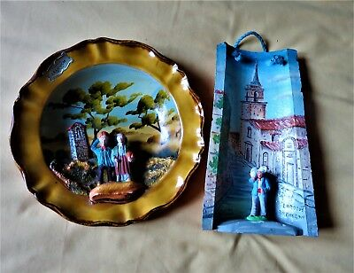 Lot Assiette Provencale Et Tuile Peinte Main Integrant 3 Santons