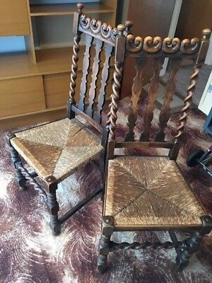 Pair of old wood dining chairs