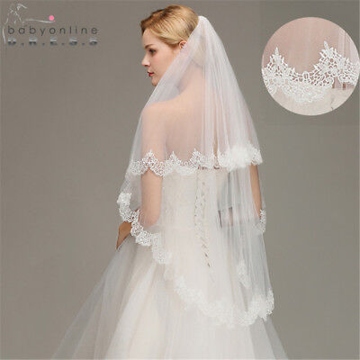 2 Tier Short Elbow Bridal Wedding Veil With Comb Lace Edge Accessories New