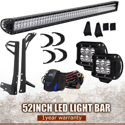 52inch 300W LED Work Light Bar Spot Flood Combo+2x 4'' Pods OffRoad For JEEP SUV