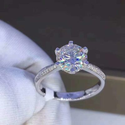 2.00Ct Round-Cut Forever Moissanite Solitaire Engagement Ring 14K White Gold