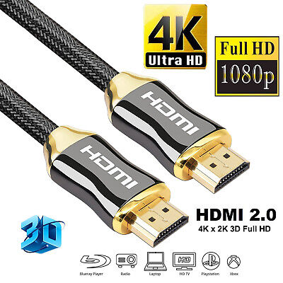 High Speed 4K HDMI Braided Cable 2.0 HD 2016P Video TV Zinc Alloy Plated Lead AU