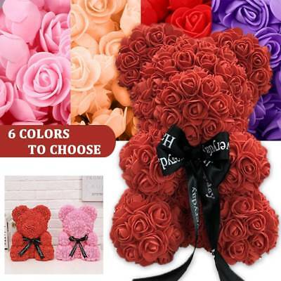 """9"""" Red Rose Bear Artificial Flower Bear Toy Birthday Wedding Valentine's Gifts S"""