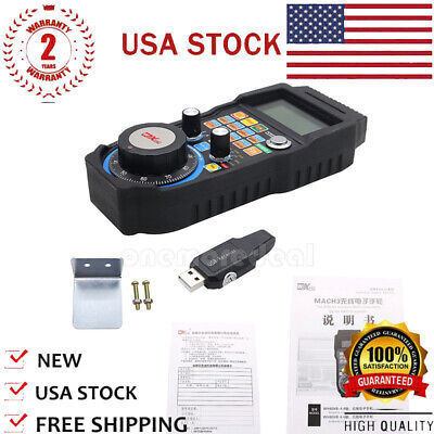 Wireless Mach3 MPG Pendant LCD Handwheel controller for CNC Mach3 4-axis US
