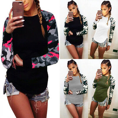 Womens Camo Fitted Blouse Ladies Long Sleeve Tops Tee Leopard Patchwork T shirt