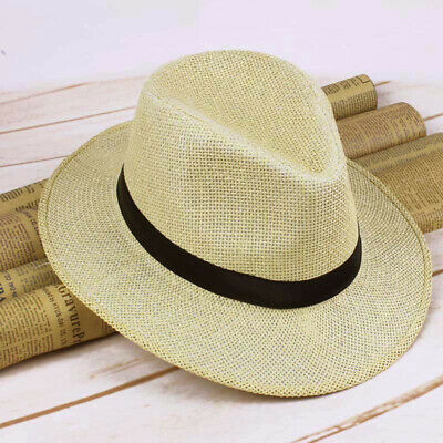 Men Fashionable Straw Panama Hat Handmade Cowboy Cap Summer Beach Travel  Sunhat e96c3750cd2a