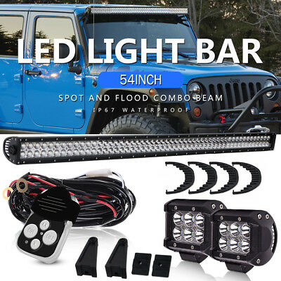 "54""/56INCH LED Light Bar Spot Flood Offroad For Jeep Hummer Dodge Ram 1500 VAN"