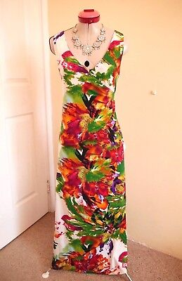 SPOIL YOURSELF White Emerald Green MAXI DRESS Size 10 Long Floral Red Pink VNeck