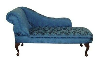 Designer Traditional Chaise Longue in Dark Blue Damask Fabric NEW SALE