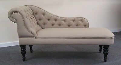 Chaise Longue in a Luxurious Oatmeal Coloured linen type Fabric