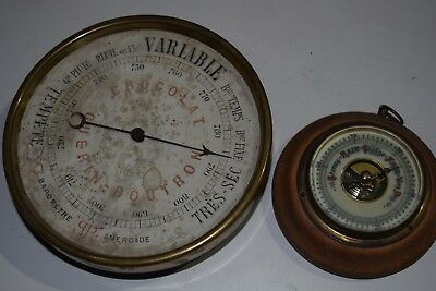 Antique French Advertising barometer and old miniature barometer