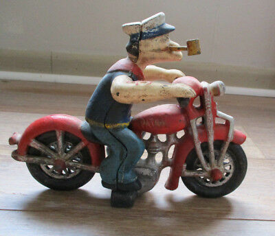 "Rare POPEYE THE SAILOR MAN Hubley Patrol Cast Iron 8"" Red Motorcycle"