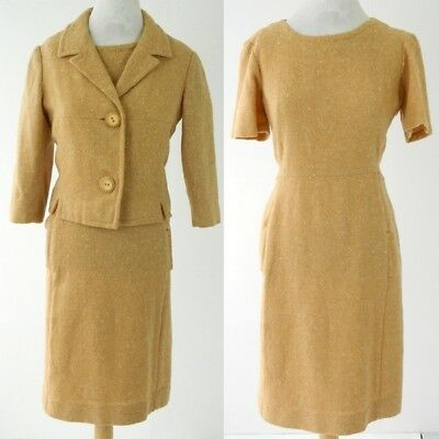 1960s Vintage Susan Small Wool Wiggle Dress & Matching Jacket Suit Size M
