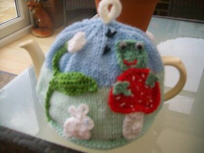 Hand Knitted Rabbit/frog/snowdrop Tea Cosy  For A Medium 3-4 Cup Teapot