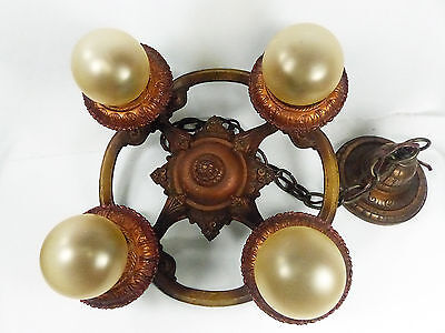 Chandelier Deco Antique Copper Polychrome Finish 1930s Signed Riddle 4 Lights