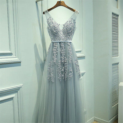 Long Evening Formal Party Dress Prom Ball Gown Bridesmaid Applique Tulle New