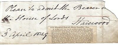 Henry Lascelles - 2nd Earl of Harewood - orig. 1829 House of Lords signed pass