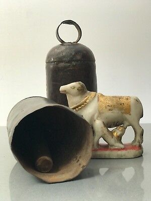Antique / Vintage Indian. Large Hindu Cow Bell In Riveted Waxed Iron. Rajasthan.