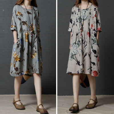 Women Dress Size Fashion Casual Sleeve Floral Lady Half Mini Linen Plus Loose