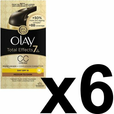 6 Olay Total Effects Color Corrección Crema Hidratante Spf 15 Mediumtodark 50ml