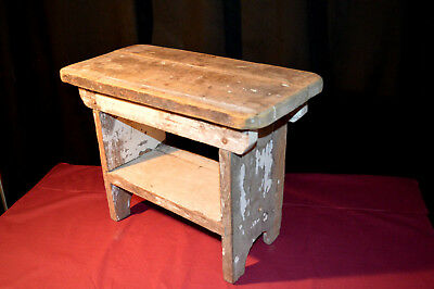 Vintage Wooden Foot Stool Step milking stool plant stand Rustic Shabby Chic