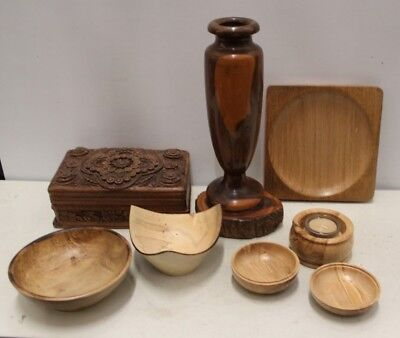 8x Carved Wood Items / Treen - Box, Vase, Bowls