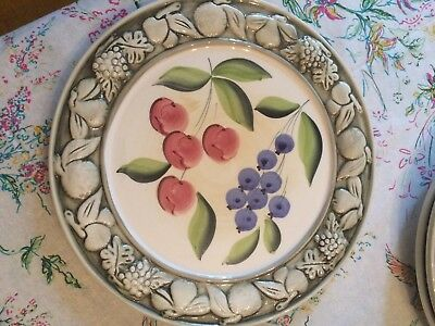 Pizzato Green 3D-Embossed Rim w/Fruit Serving~Cake Plate Made in Italy
