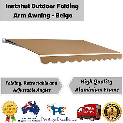 Instahut Outdoor Folding Arm Awning Retractable Sunshade Wall Canopy Beige