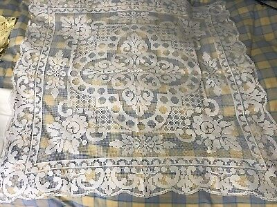 Vintage Hand Knotted Italain Fillet Lace Tablecloth