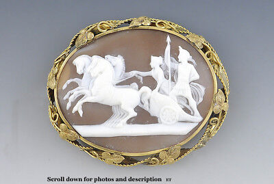 Victorian 14k Gold Hand Carved Cameo of Alexander the Great with Chariot