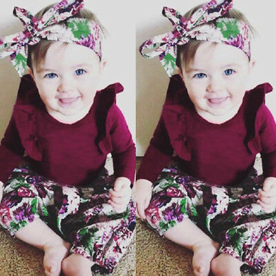 Girls Clothes Suits Romper Jumpsuit +Floral Skirt Pants +Headbands Outfits Set