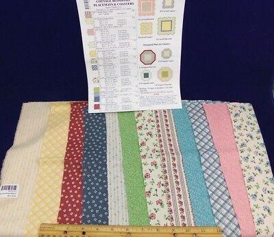 "Connecting Threads Quilt Kit-Cottage Blossoms Placemats & Coasters/16.5"" x 34.5"""