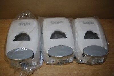 3 x New Wall Mounted White Gojo Touch Hand Soap Sanitiser Dispensers 28cm L14cmW