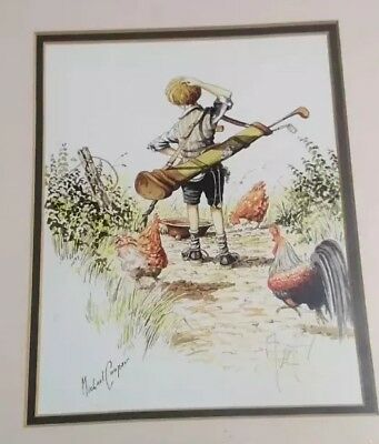 Vintage triple  Signed By Artist framed Golf Print Michael Cooper
