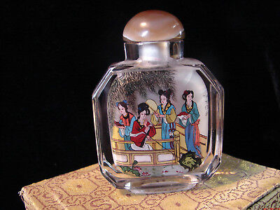 Chinese Inside Painted Reverse Painting Glass Snuff Bottle