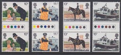 GB EII 1979 Police MINT TRAFFIC LIGHT GUTTER PAIRS sg1100-1103 MNH