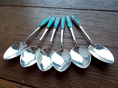 Set Of 6 Vintage Solid Silver Coffee Or Cocktail Spoons With Enamel Finials