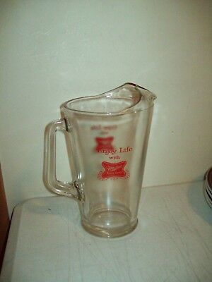 TRUE VINTAGE Miller High Life Beer Pitcher HEAVY glass full sized VERY NICE