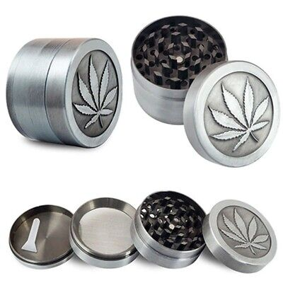 New 4 Piece 2.5 Inch Silver Tobacco Herb Grinder Aluminum With Scoop