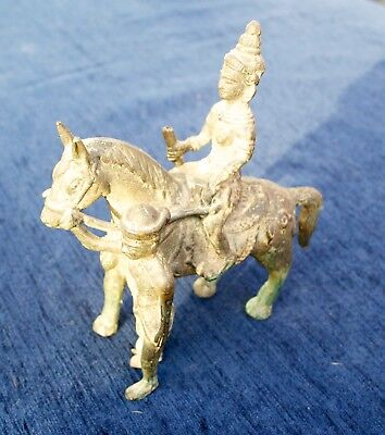 Antique Chinese Cambodian Solid Bronze Horse Figure and Rider Equestrian Asia
