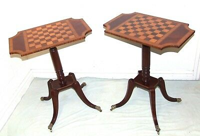 PAIR AVAILABLE Antique Style Mahogany Satinwood Chessboard Wine Table Lamp Stand