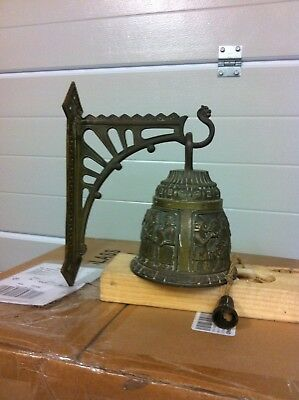 Antique Solid Brass Wall Mount Decorative Pull Cord Door Bell.